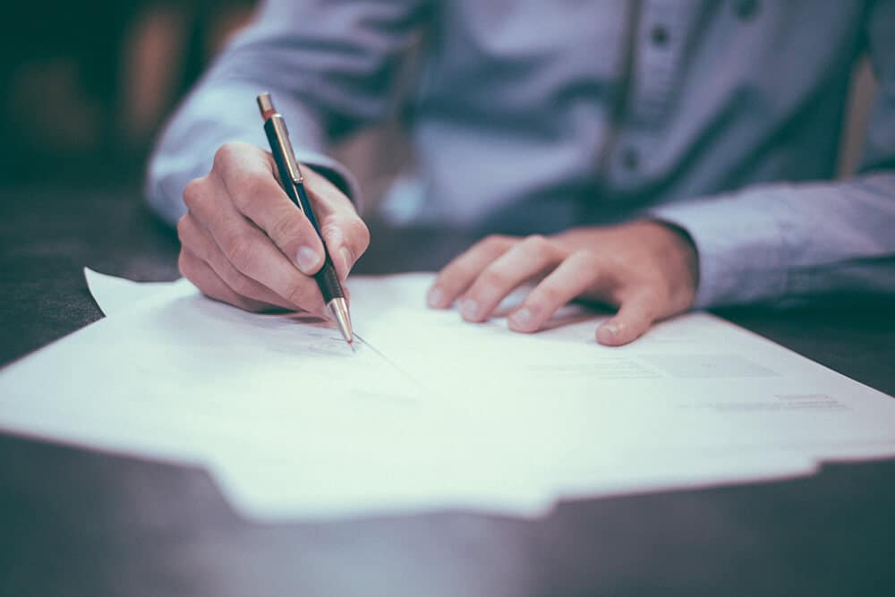 Person signing forms